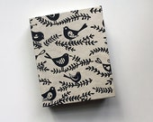 black and cream birdie coptic sketch journal, cream pages