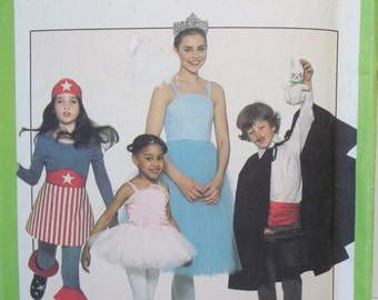 Children's Variety Halloween Costumes, Simplicity 8222 Sewing Pattern  Ballerina, Magician, Super Hero Cape, Tulle Skirt Sizes 7 - 8 UNCUT