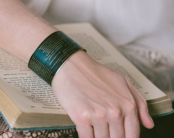 Portia's Quality Of Mercy Speech - The Merchant of Venice Jewelry - Literary Brass Cuff Bracelet - Shakespeare Jewelry Gifts