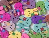 Wooden Buttons- Cute Bunnies- 6pcs wood buttons