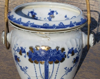 Vintage Flow Blue White Ceramic Pottery Slop Jar Handle Gold Gilt Chamber Pail Bucket