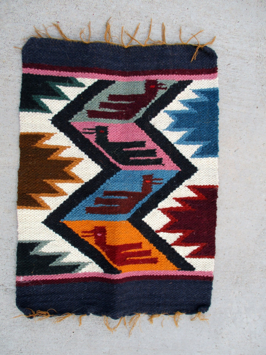 Vintage Southwestern Mexican Woven Wool Tribal Miniature Small
