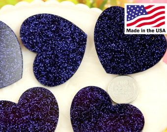 Heart Cabochons - 45mm Deep Violet Black Glitter Heart Cabochons - 4 pc set