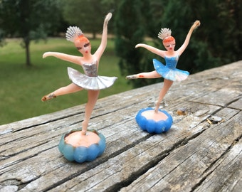 Vintage Ballerina Cake Toppers--Pair of Ballerina Princess Cupcake Toppers--Wedding Birthday Cake Decoration--Miniature Party Cake Toppers