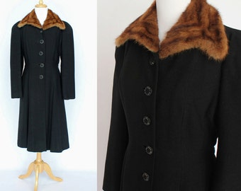 40's Black Wool Princess Style Coat / Mink Fur Trim / Small to Medium