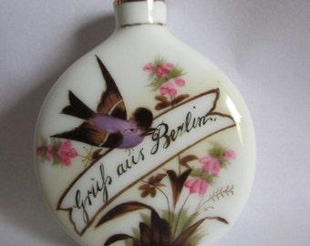 Antique Greman Porcelain Perfume Bottle with Bird, Grand Tour