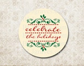 Christmas Holiday Stickers Party Favor Treat Bag Stickers CS012
