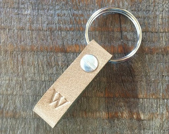 Monogrammed Oatmeal and Green Leather Keychain - TINY style