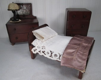 Vintage Doll House Furniture - Hand Made Bedroom Set for Doll - Play Scale - Perfect for Hitty or NASB
