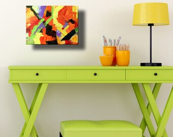 Contemporary bright abstract art painting orange yellow green knife painting