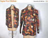 SALE 1970s Scalloped Leather Jacket / S-M