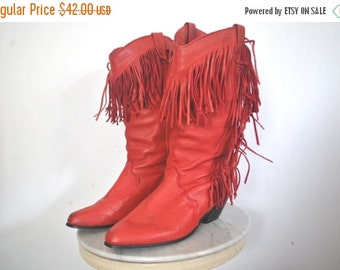 SALE Fringe Leather Boots / red DINGO / size 6 1/2