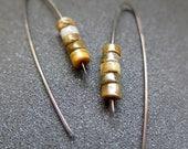 brown jasper earrings. anodized niobium earings. hypoallergenic jewelry.