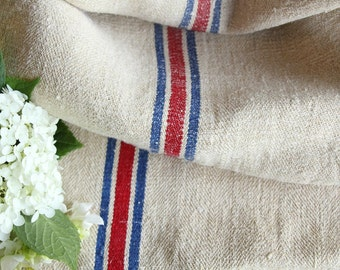 B 349 Grain Sack antique  RED and BLUE YACHTING benchcushion 20.08wide upholsteringwedding decoration