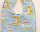 Ready To Ship - Reversible Bunny On The Moon Flannel Baby Bib - Flannel Baby Bunny Bib - Stars Moon Clouds Bunny Baby Bib
