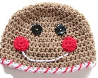 Crochet Gingerbread Boy Hat - Crochet Christmas Baby Hat - Gingerbread Christmas Hat - Size 3 to 6 Months - Ready To Ship