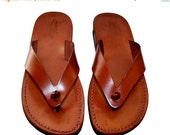 15% OFF Brown Surf Leather Sandals for Men & Women - Handmade Unisex Sandals, Flip Flop Sandals, Jesus Sandals, Genuine Leather Sandals