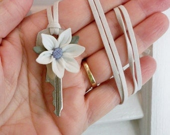 White clay flower on vintage key necklace - White suede cord - One of a Kind bycat