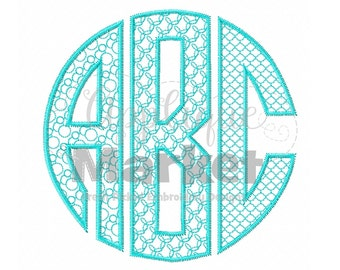 Machine Embroidery Design Embroidery Natural Circle Monogram Patterns-Circles Font INSTANT DOWNLOAD