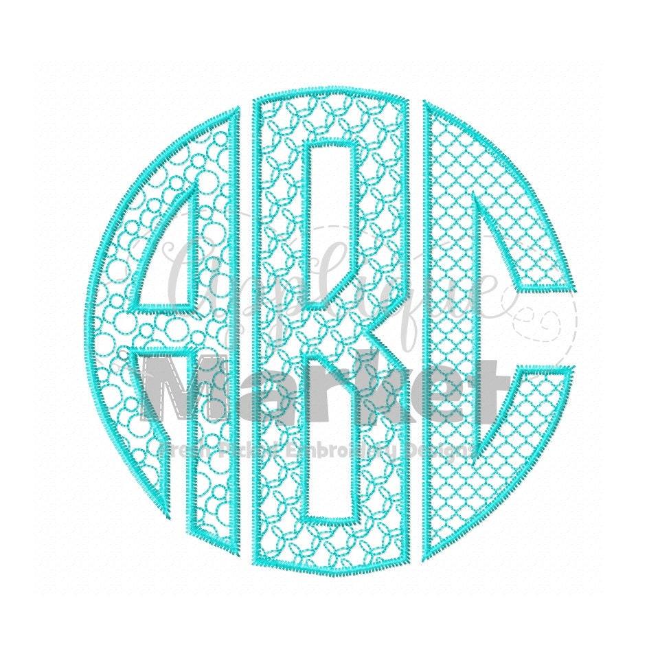 Machine embroidery design natural circle monogram