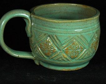 Green Celtic Mug Handmade Pottery