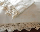 Off-White Handmade Pillowcases, Water Lily and Cattail Hand Embroidery, Crocheted Filet Edging