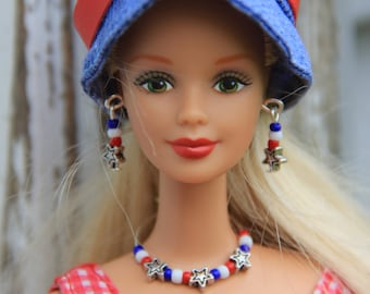 "Stars and Stripes Red White & Blue Doll Jewelry Set for Fashion Dolls 11 1/2"" - 12 inch"