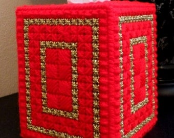 Boutique Tissue Box Cover - Geometric Christmas