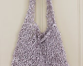CLEARANCE - Knit Paper Tote Bag in Lilac - Market Tote - Ready to Ship