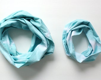 Mommy & Me Infinity Scarf Set in Tie Dye Teal - Hand Dyed Cotton - Ready to Ship
