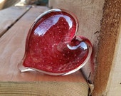 Pink Glass Heart with Bub...
