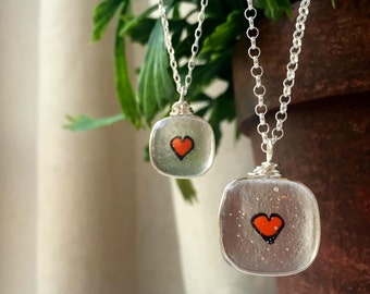 Mother Daughter Necklace - Valentine's Gift - Transparent Glass Pendant - Heart Jewelry