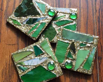 Green Gold Recycled Stained Glass Mosaic Coasters (Set of 4)