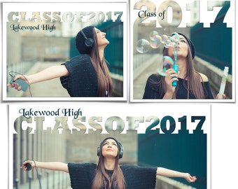 Photoshop Templates | Collage Set - SENIOR YEAR 2017 - (3) Digital Collage Files for Photographers & Scrapbookers - (20x10,11x14,12x12).
