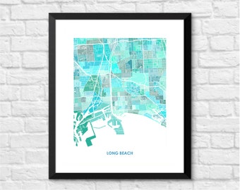 Long Beach Map Print.  You choose the colors and size.  California Wedding Gift.  CA Art Poster.