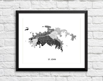 St John Map Print.  You pick the colors and size.  U. S. Virgin Islands Art.  USVI Poster.