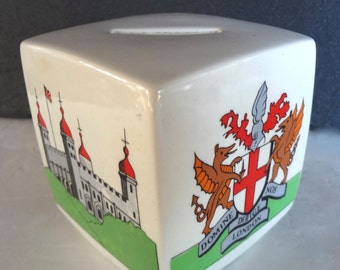 Vintage Ceramic Coin Bank Souvenir Domine Nos Dirige London Coat Of Arms