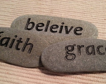 Custom engraved word stones