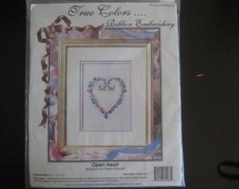 Vintage Ribbon Embroidery kit, True Color, 1994. Open Heart design.