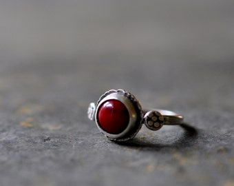Sterling Coral Ring, Oxidised Sterling Silver Stacking Ring, Gemstone Metalwork Ring -  Rumple Ring in Red Coral