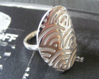 Art Deco Texture Fine Silver Ring