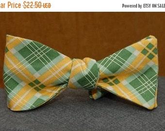 Green, Yellow and White Argyle  Bow Tie