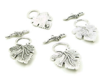 Tibetan Silver Large Grape Leaf Toggle Clasp ,Link Charm ,jewelry Supply ,jewelry Findings ,DIY Jewelry, 5 sets