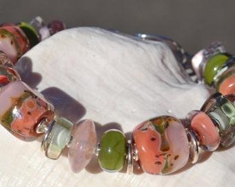 SECRET GARDEN-Handmade Lampwork and Sterling Silver Bracelet