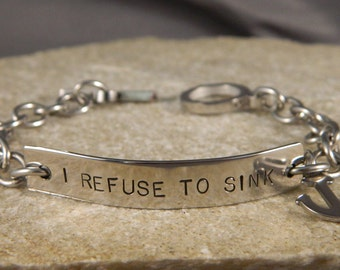 I Refuse to Sink Stainless Steel Bracelet with Anchor