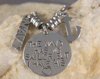 The Navy Has My Sailor But I have His Heart Anchor Necklace