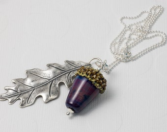 Lampwork Acorn and Leaf Necklace