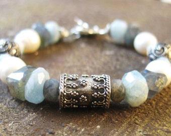 Labradorite Bracelet, Aquamarine Bracelet, Pegasus Bracelet, Freshwater Pearl Bracelet, Chunky Bracelet