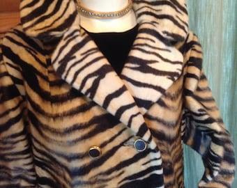 Vintage Sportowne Couture Tiger Stripe Faux Fur Coat