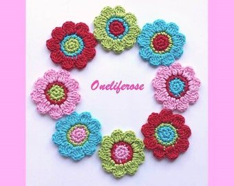 Crochet Flowers 8 pieces